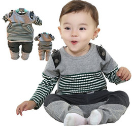 Wholesale Fashion Spring Children Boys Striped Pullover Pants Casual Outfits Clothing Black White Genuine Toddler Set Wear B24