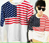 Wholesale East Knitting fashion LW long sleeve shirts for men women american flag T shirts 1