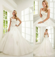 Wholesale 2014 Designer New Applique Luxury Beaded A line Tulle Backless Wedding Dresses Ronald Joyce Wedding Dress Covered Button Bridal Gowns
