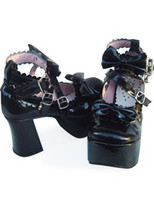 Wholesale Hot Sale Halloween Cute Black High Heel Platform Round Toe PU Lolita Shoes r89 u9 e1G
