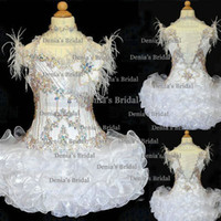 Wholesale 2014 White Crew Neckline Illusion Cap Sleeves With Feather Beaded And Hand Made Flowers Cupcake Organza Little Girl s Pageant Dresses Dhyz01