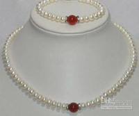 Wholesale NEW Fine White Pearl Red Jade Necklace Bracelet