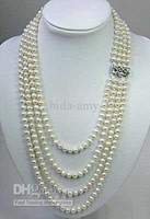 Wholesale Strands White FW Round mm Pearl Necklace Fashion AKOYA
