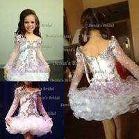 Wholesale 2014 Lovely Off Shoulder Illusion Long Sleeves Beaded Cupcake Organza Pageant Dresses for Girls Dhyz