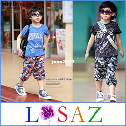Wholesale Kids Harem Camouflage Cotton Clothing Set Boys Clothes Summer Comforter Two Piece Sets LSAZ