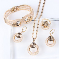 Wholesale 2014 new design fashion Jewelry Set For Women party gifts Top Quality European gold plated dubai african costume bridal wedding necklace set