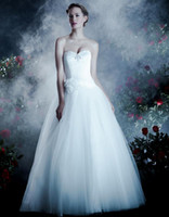 Wholesale Anjolique Cheap Tulle and Corset Wedding Dresses A462 Handmade Floral Beaded Sweetheart A Line Floor Length Sleeveless Backless Ruffled