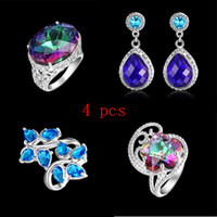 4 piece lot 925 silver rings earrings mystic topaz Free Ship...