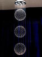 Wholesale K9 Crystal LED Chandeliers GU10 Bulbs Dinning Room Pendant Lamp K9 Suspensions Pendant Lamps LED Hotel Ceiling Fixtures
