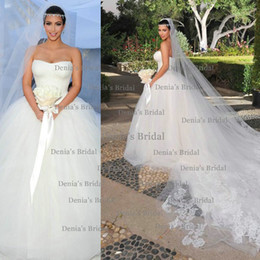 2016 New Sexy A Line Strapless Tulle Floor Length Wedding dresses with Appliques Bridal Gowns Dhyz 01