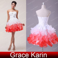 Real Photos Ball Gown Sweetheart Grace Karin High Quality Organza Ball Gown Beading Sequins Sweetheart Ruffle Mini Short Homecoming Dresses White&Red CL4977