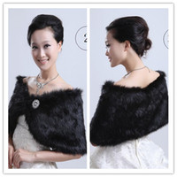 faux fur bridal cape - 2015 Fashion Black Wedding Wraps Jackets Faux Fur Bridal Cape Crystals Button Party Prom Shawl Formal Evening Tippet Winter Wedding Bride