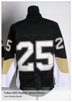 Ice Hockey Men Full Cheap Premier Ice Hockey Jersey Maxime Talbot #25 Black M-3XL polyester High Quality Ice Hockey Jersey Name Team Logo Number Embroidered
