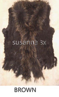 Coats Women Fur coats FREE SHIPPING*Knitted rabbit fur vest with finn raccoon fur collar mixed order NO. SU-1101