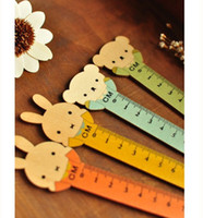 Wholesale Korea stationay designs cartoon cute wooden ruler drawing supplies