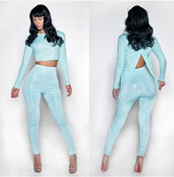 Wholesale European and American foreign trade zone hot models sequined two piece blue suit pants Siamese clothes back split
