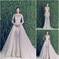 A-Line 2014 Sheer Bridal Jacket - 3 Piece Zuhair Murad Jewel Neck Sheer Wedding Dresses Long Sleeve Jacket Lace A Line Detachable Skirt Applique Chapel Train Bridal Gowns