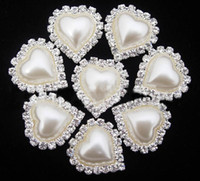 Wholesale 50pcs mm Creamy Heart Sparkle Crystal A Grade Rhinestone Pearl Beads Cabochons