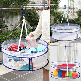 Wholesale New Double Layer Laundry Clothes Sweater Dryer Rack Hanger Hanging Mesh Basket Cx28 Freeshipping