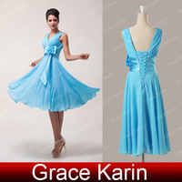 Wholesale 2014 New Knee Length Chiffon Bridesmaid Dresses Ruched V neck with Flower Satin Sash for Beach Wedding CL6015