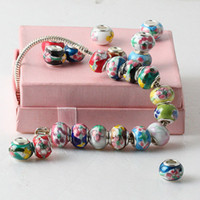 ceramic beads flower - 100X Mix Color Ceramic Loose Big Hole European Charm Flower Beads Fit Bracelet