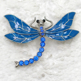 Wholesale Crystal Rhinestone Enameling Dragonfly Pin Brooch jewelry gift C395
