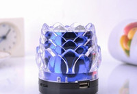 Wholesale LJ Shine Mini Speaker With Crystal Lotus Design Lamp Portable Speakers Support USB TF Card With Retail Package Via DHL