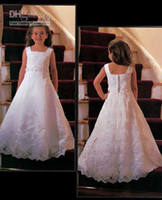 Satin And Lace Applique Beads Embroidery Flower Girl Dresses...