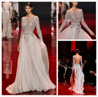 Wholesale 2014 Elie Saab Sheer Beaded And Leather Belts Backless Sheath Bateau Neckline Long Sleeves Prom Dresses Floor Length Chiffon Evening Gowns