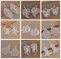 Wholesale mixed Sterling Silver Jewelry drop Earings Brand New Beautif Earrings Dangle Earrings Mix Order
