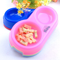 Wholesale Dog Feeder Pet Supplies Pet Hamper Plastic Dog Two connected Bowl with Different Size CF014