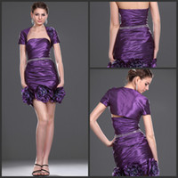 Cheap 2014 Handmade Flower Strapless Sheath Sexy Cocktail Dresses Purple Short Party Prom Dress Gowns With Short Sleeve Jacket Taffeta Cheap