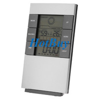 Wholesale New Digital Blue LED backlight Temperature Humidity Meter Thermometer Hygrometer Clock