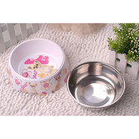 Wholesale Dog Bowl Pet Supplies Stainless Steel and Melamine Pet Hamper Dog Two Bowls CF016