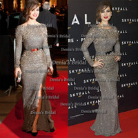 Reference Images Oscar Awards Crew 2014 New Sheath Berenice Marlohe Red Carpet Elie Saab Crew Neck Long Sleeves With Beaded Side Silt Floor Length Celebrity Dresses Dhyz 01
