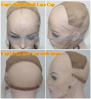 Wholesale French Lace Cap Full Lace Wig Base Human Hair Full Lace Wig Caps With Adjustable Straps Combs Stretchy Part At Crown Supply Medium size