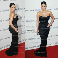 Reference Images Pandpra  V-Neck 2014 New Sexy SKim Kardashian Black Mermaid Strapless Lace Sweep Train Celebrity Dress Dhyz 01