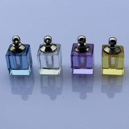 Wholesale 5 Square DIY vials rice writing necklace pendant Aroma pendant perfume bottles