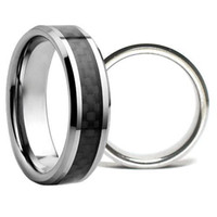 Wholesale S5Q MM Tungsten Carbide Carbon Fiber Unisex Wedding Band Ring Mens Ladies Gift AAAALI