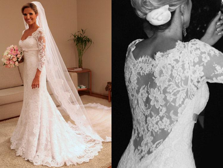 Winter wedding dresses lace sleeves 2017