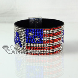 Wholesale leather crystal rhinestone UK USA flag snap wrap bracelets slake bracelets handmade leather bracelet