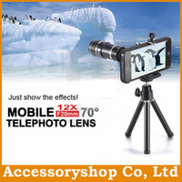 Wholesale iPhone C DW1220PI ABS Long Focus Lens Telephoto Telescope Degree View X Magnification Zoom Field With Case amp Metal Stand