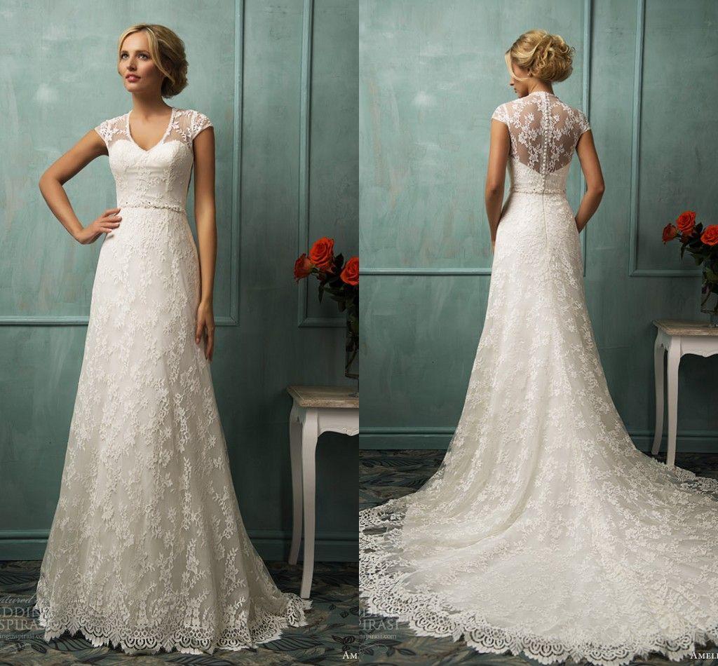 2014 Elegant V Neck Wedding Dresses Sheath Lace Cap Sleeve