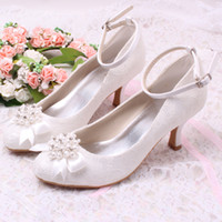 Women shoes dropship - Colors New Arrival White Lace Pearl and Rhinestone Low Heel Bridal Wedding Shoes Dropship