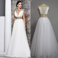 Wholesale ED Real Made Tarik Ediz Dresses A line Pearls V neck Floor Length Tulle Long Evening Formal Dress New Fashion