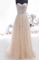 Wholesale Champagne Sweetheart Sequins Tulle Bridesmaid Long Wedding Gown Prom Party Formal Evening Cocktail Dress