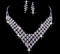bridal necklace - New Cheap Wedding jewelry Hot Sale Bridal Necklace Earrings Set Party Prom Accessories Sparkling Drill Crystals bridal jewelry sets