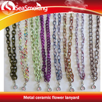 Wholesale Metal ceramic flower lanyard Hot Selling EGO Lanyard string necklace for e cig with Chain ring styles available fashionable