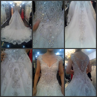 Wholesale hot sexy V Neck Sleeveless Sweep Train Applique Beads Sequins Crystal Zipper A Line Wedding Dresses Custom made