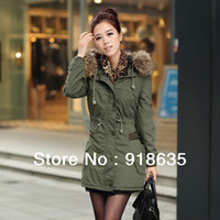 Wholesale 2013 New Arrival Autumn and Winter Women s Coat Long Section Casual Hooded Fur Collar Jacket Outerwear